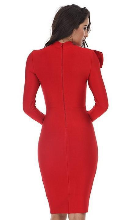 Red Dynasty Bow Bandage Midi Dress - DIOR BELLA