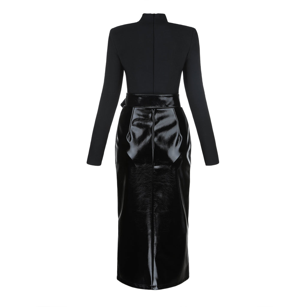 Tami Black Bandage Bodysuit And Vegan Leather Skirt Set