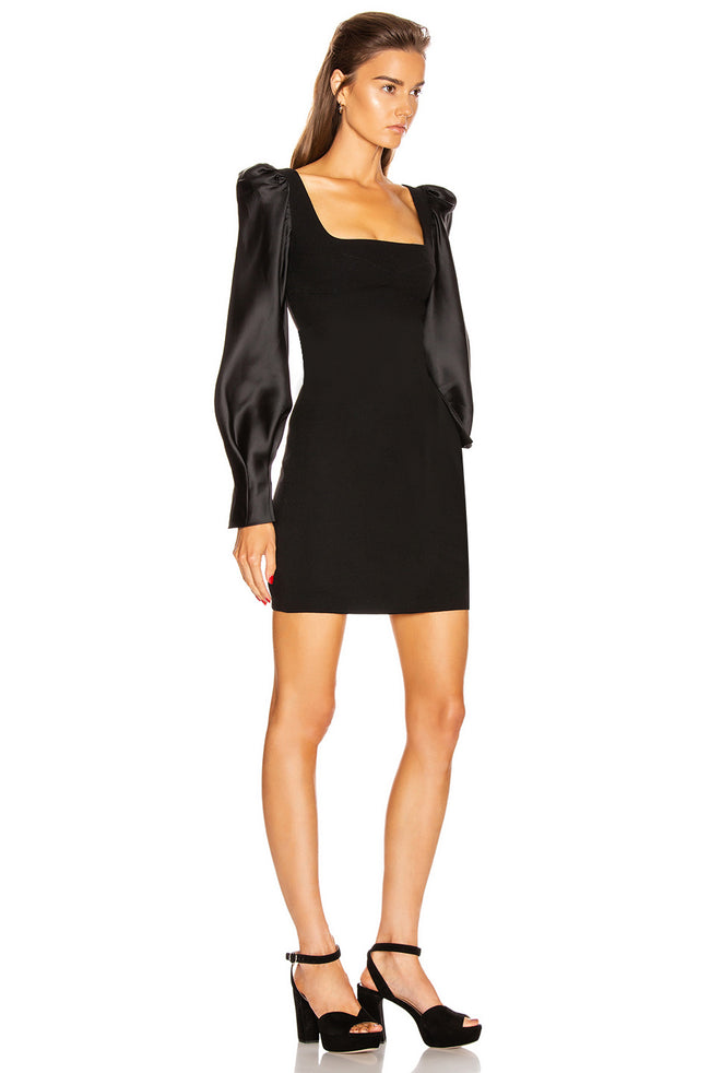 Black Satin & Bandage Long Sleeve Mini Dress
