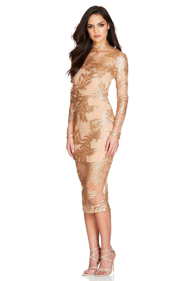 Gold Sequins Long Sleeve Bodycon Midi Dress