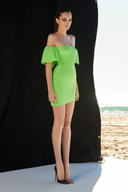 Apple Green Off Shoulder Bodycon Mini Dress - DIOR BELLA