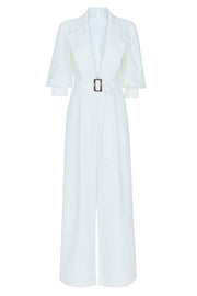 Tanisha White V-Neck Jumpsuit - DIOR BELLA