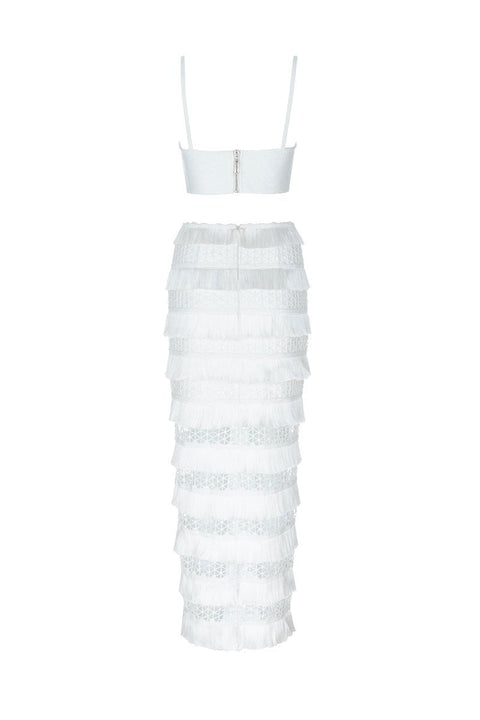 Nora White Bandage Crop Top Midi Skirt Set - DIOR BELLA
