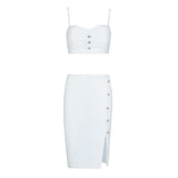 White Bandage Button Front Midi Skirt Set - DIOR BELLA