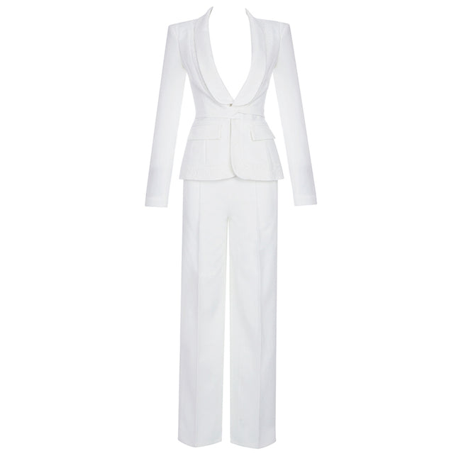 White Lace Single Breasted Tuxedo Pantsuit