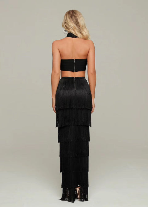 Black Cutout Side Fringe Bodycon Maxi Dress - DIOR BELLA