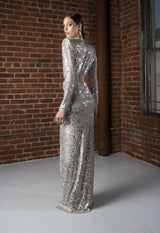 Silver Sequins Deep V-Neck Sequin gown
