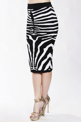 Zebra Knee Length Bandage Skirt - DIOR BELLA