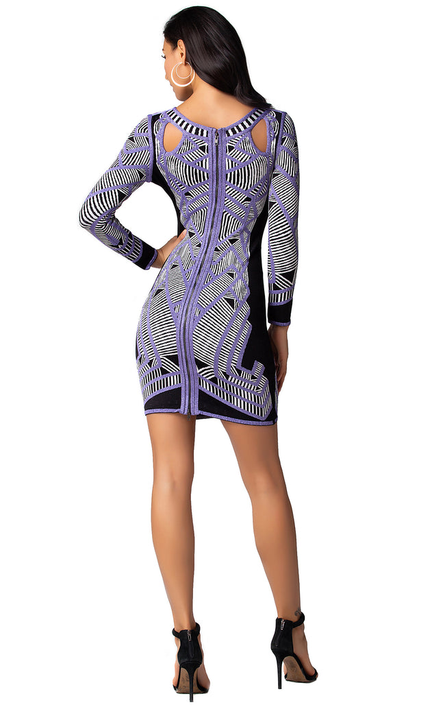 Purple Multi Cutout Long Sleeve Bandage Mini Dress