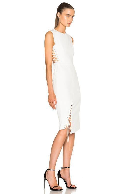 Izzy White Lace Up Bandage Dress - DIOR BELLA