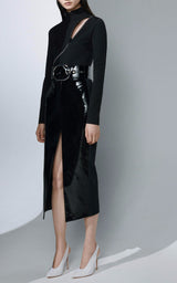 Tami Black Bandage Bodysuit And Vegan Leather Skirt Set - DIOR BELLA