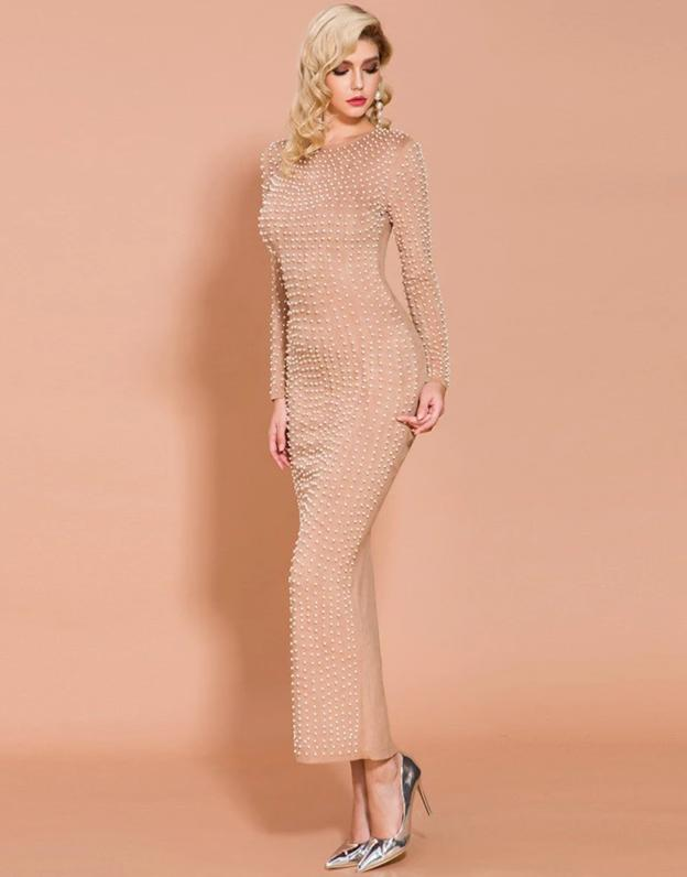 Nude Beaded Long Sleeve Bodycon Maxi Dress