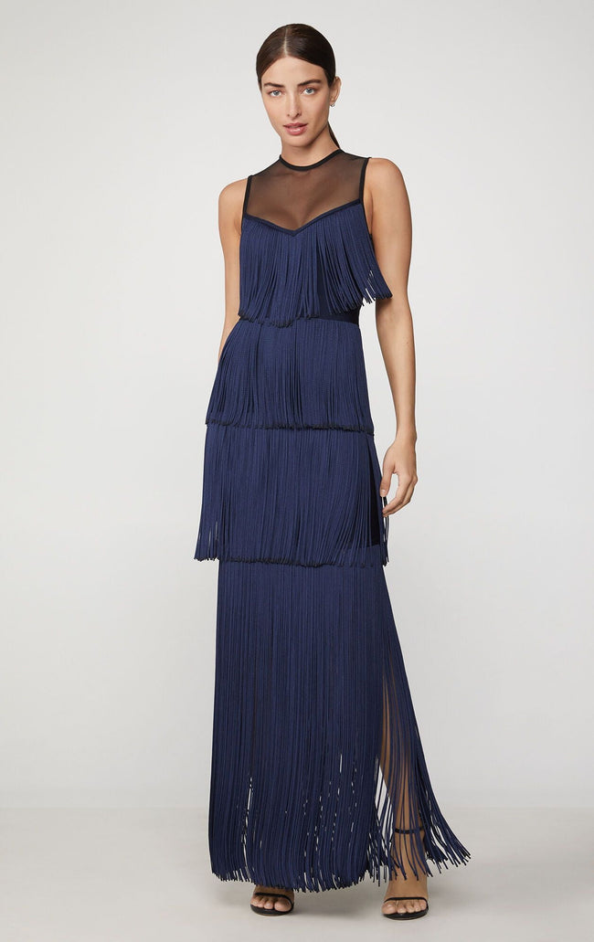Navy Blue Fringe Illusion Bandage Gown - DIOR BELLA