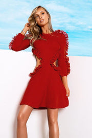 Red Cutout Bandage Chiffon Dress - DIOR BELLA