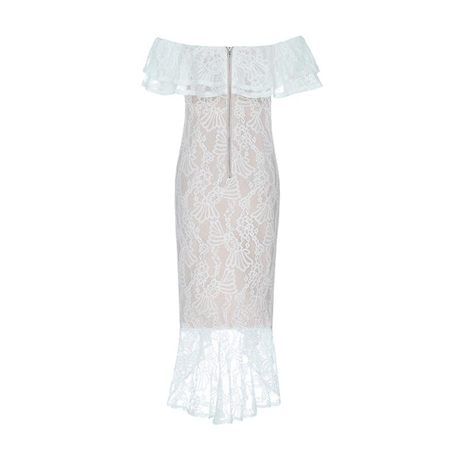 White Lace Off Shoulder Shoulder Midi Dress - DIOR BELLA