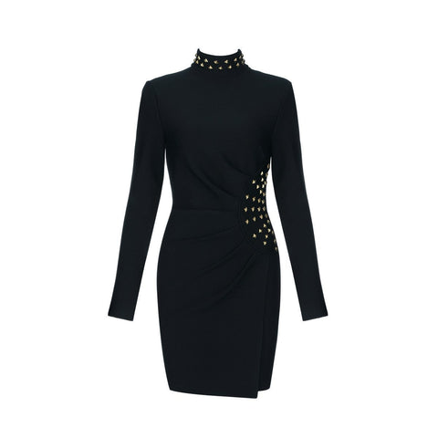 Arie Black Long Sleeve Bodycon Dress - DIOR BELLA