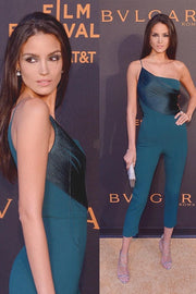 One Shoulder Teal Fringe Bandage Jumpsuit - DIOR BELLA