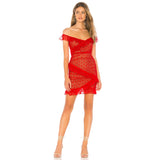 Red Polka Dots Lace Off Shoulder Mini  Dress - DIOR BELLA
