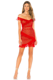 Red Polka Dots Lace Off Shoulder MiniDress - DIOR BELLA