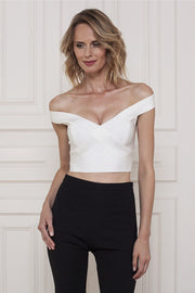 White Cutout Off Shoulder Bandage Top - DIOR BELLA