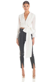 White Long Sleeve BowBlouse - DIOR BELLA