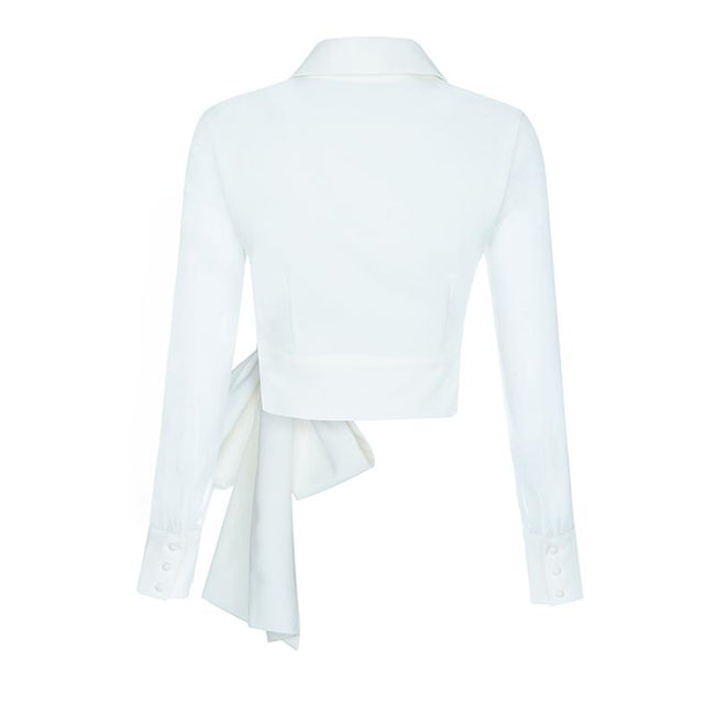 White Long Sleeve Bow  Blouse - DIOR BELLA