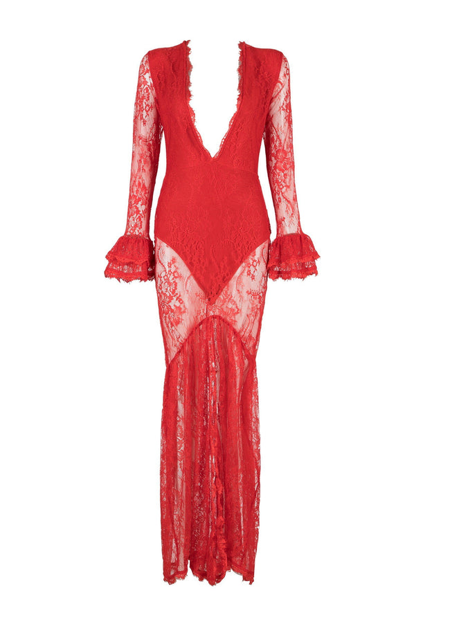 Azealia Red Lace Maxi Dress - DIOR BELLA
