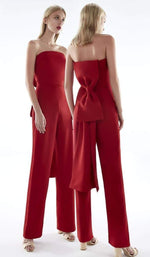 Red Strapless Bow Back Jumpsuit