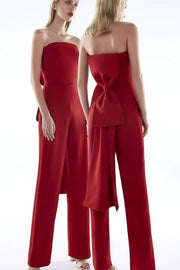 Red Strapless Bow Back Jumpsuit - DIOR BELLA