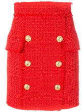 Red Embossed-Button Tweed Skirt