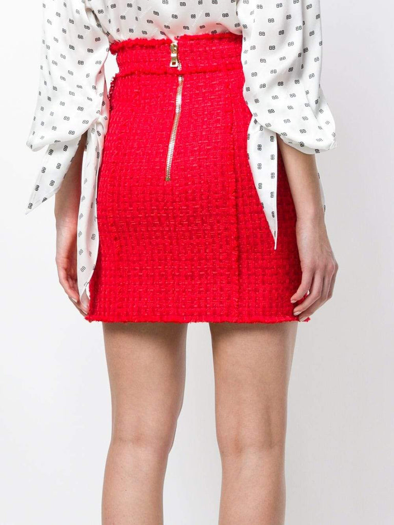 Red Embossed-Button Tweed Skirt - DIOR BELLA