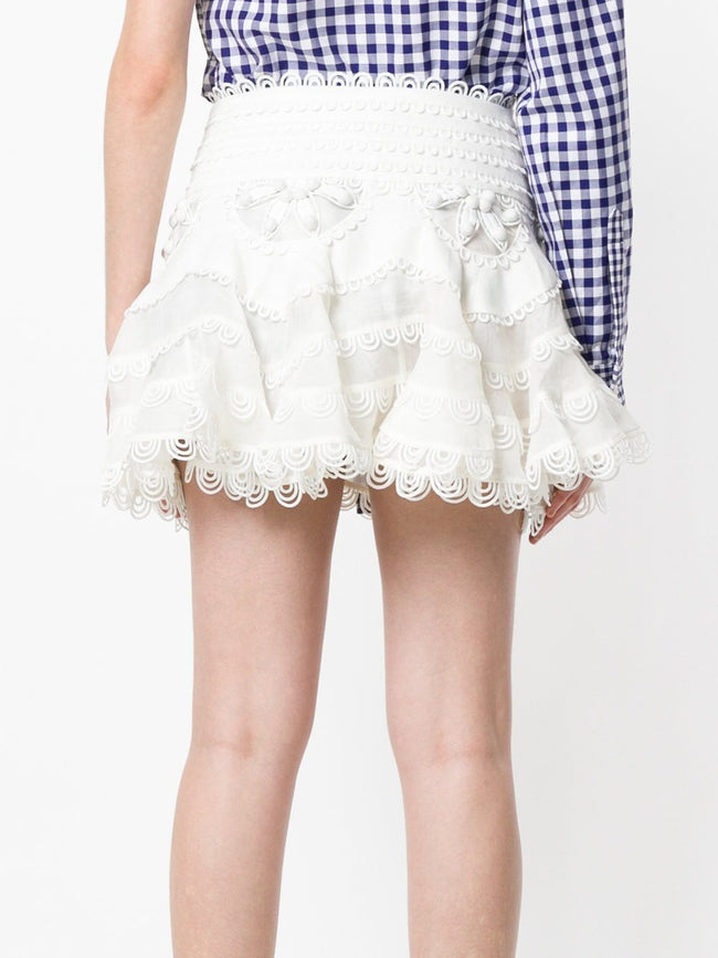 Alex White Scallop Hem Mini Skirt - DIOR BELLA