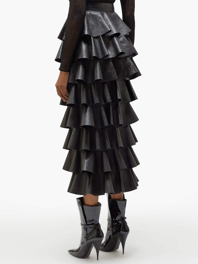 Black Ruffle Vegan Leather Maxi Skirt - DIOR BELLA