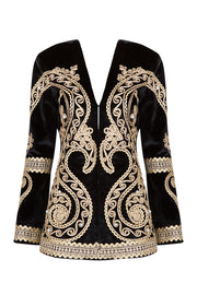 Black Velvet Beaded Blazer Jacket