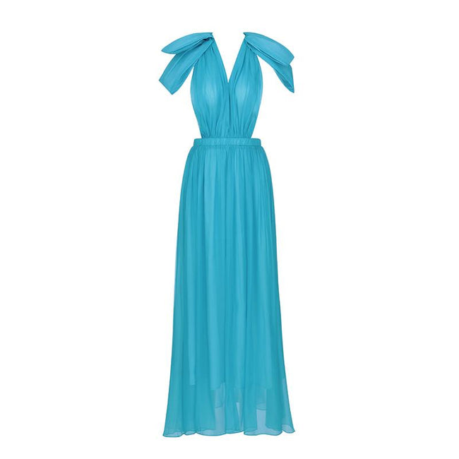 Twilight Blue Chiffon Bow Maxi Dress - DIOR BELLA