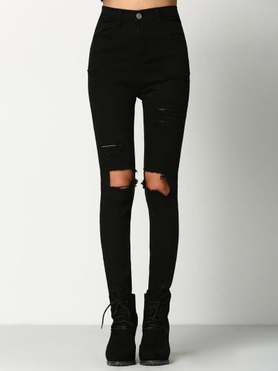 Black Skinny Ripped Denim Jeans Pant - DIOR BELLA