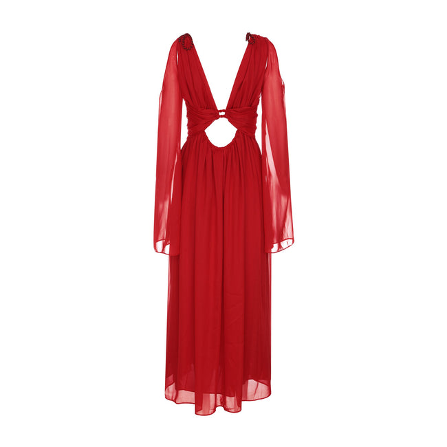 Ruby Red Cold Shoulder Maxi Dress - DIOR BELLA