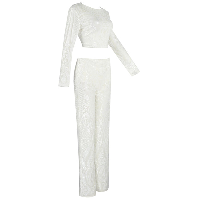 White Sequins Crop Top And Pants Set