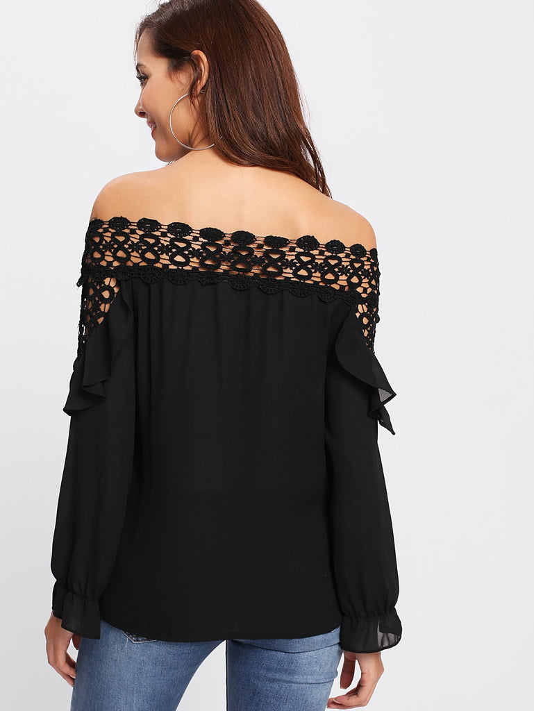 Embroidered Lace Off Shoulder Black Blouse - DIOR BELLA