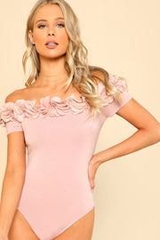 Pink Ruffled Off Shoulder Bodysuit - DIOR BELLA