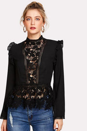 White Embroidered Lace Ruffled Peplum Blouse - DIOR BELLA