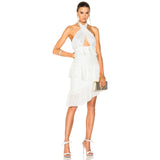 White Ruffled Lace Bodycon Halter Midi Dress - DIOR BELLA