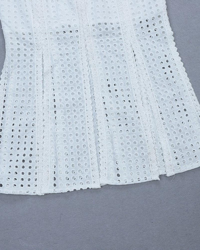 White Eyelet Lace Crop Top Midi Skirt Set - DIOR BELLA