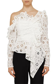 White Lace Asymmetric Floral Broderie Blouse