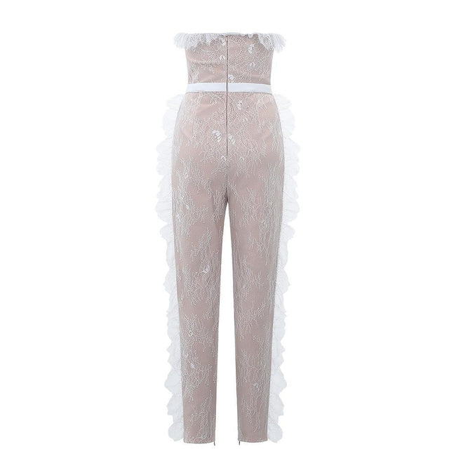 Enchanted Ruffled Lace Bandage Jumpsuit - DIOR BELLA