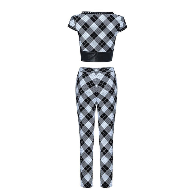 Black And White Checker Crop Top Pants Suit - DIOR BELLA