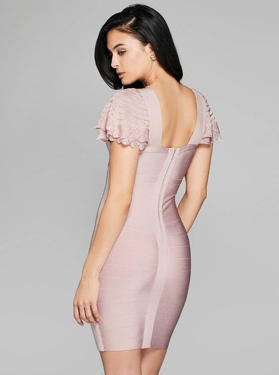 Blush V-Neck Ruffled Sleeve Bandage Dress - DIOR BELLA