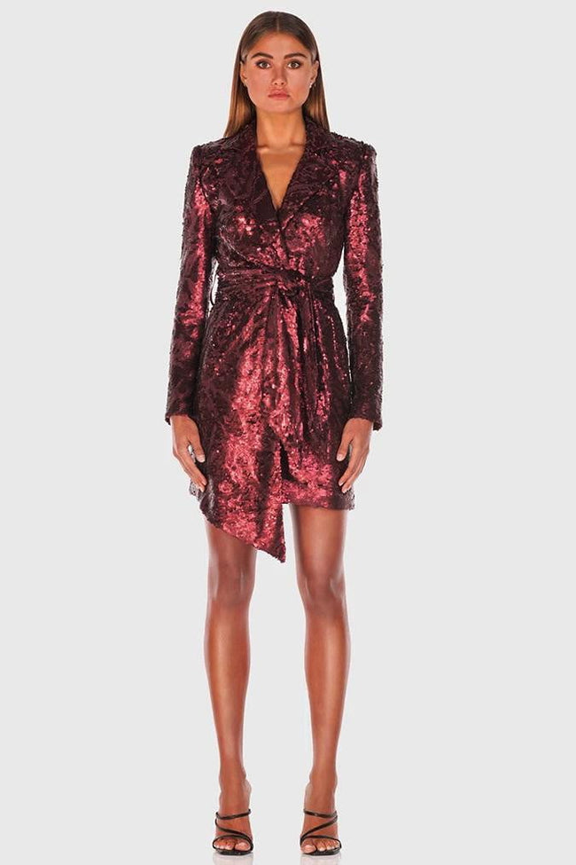 Burgundy Sequins Asymmetrical Cocktail Dress - DIOR BELLA