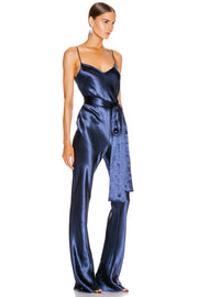 Blue Satin V-Neck Jumpsuit