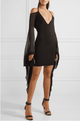 Black Chiffon Bell Sleeves Bandage Mini Dress